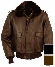 Schott Leather Flight Jacket w/Removable Collar