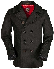 Schott 740C Leather Trimmed Wool Peacoat