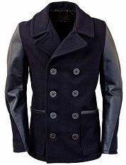 Schott DU799 Men's Slim Fit Wool Peacoat with Leather Sleeves