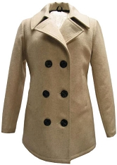 CLEARANCE - Fidelity Ladies Wool Naval Peacoat CAMEL