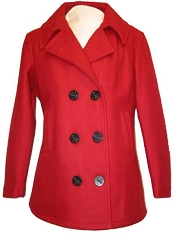 CLEARANCE - Fidelity Ladies Wool Naval Peacoat RED
