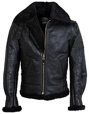 Schott NYC Mens 257S B-3 Black Sheepskin Bomber Jacket