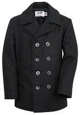 Schott NYC Mens 740 Naval Peacoat in Melton Wool