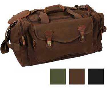 Leather Trimmed Canvas Long Weekend Bag