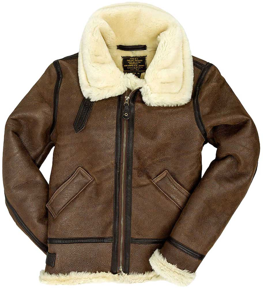 Cockpit Womens B-3 Sheepskin Bomber Jacket