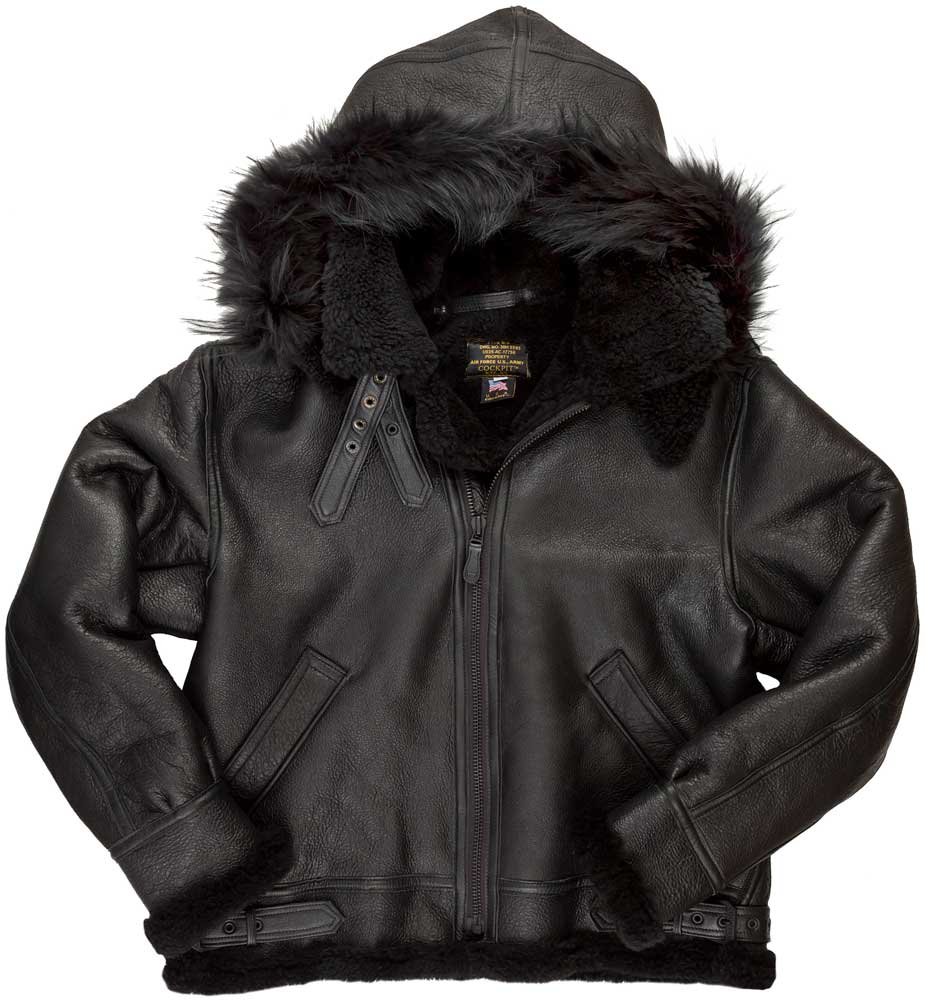 Cockpit USA Mens Black Hooded B-3 Sheepskin Bomber Jacket