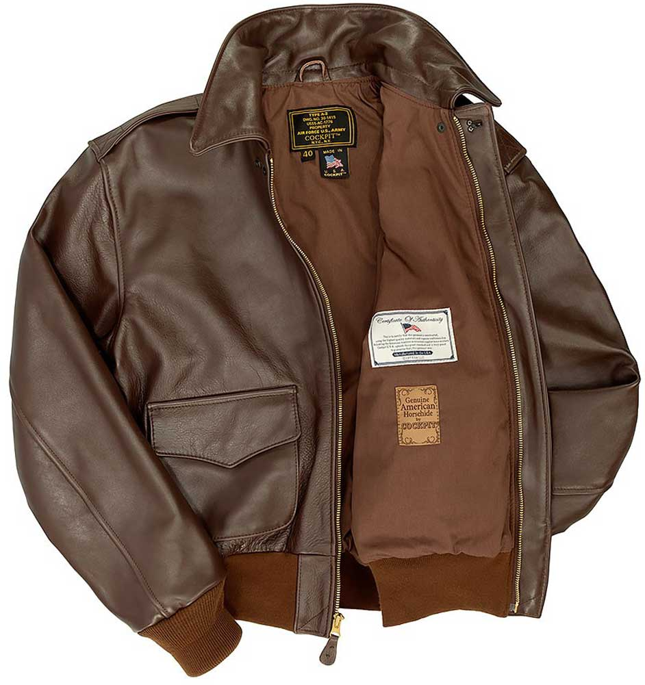 cf2c5eee864 Cockpit Mens Horsehide A-2 Leather Flight Jacket