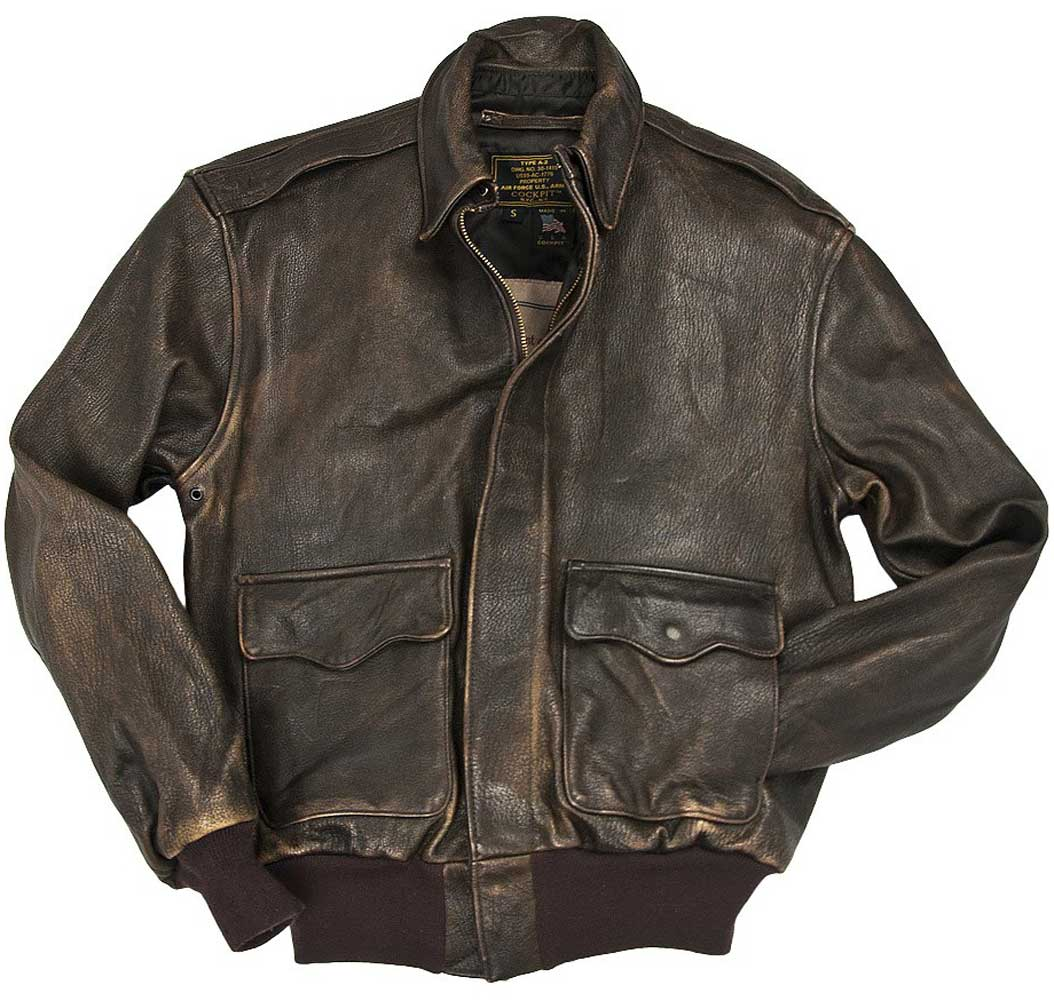 Cockpit Mens Mustang Vintage A-2 Leather Flight Jacket