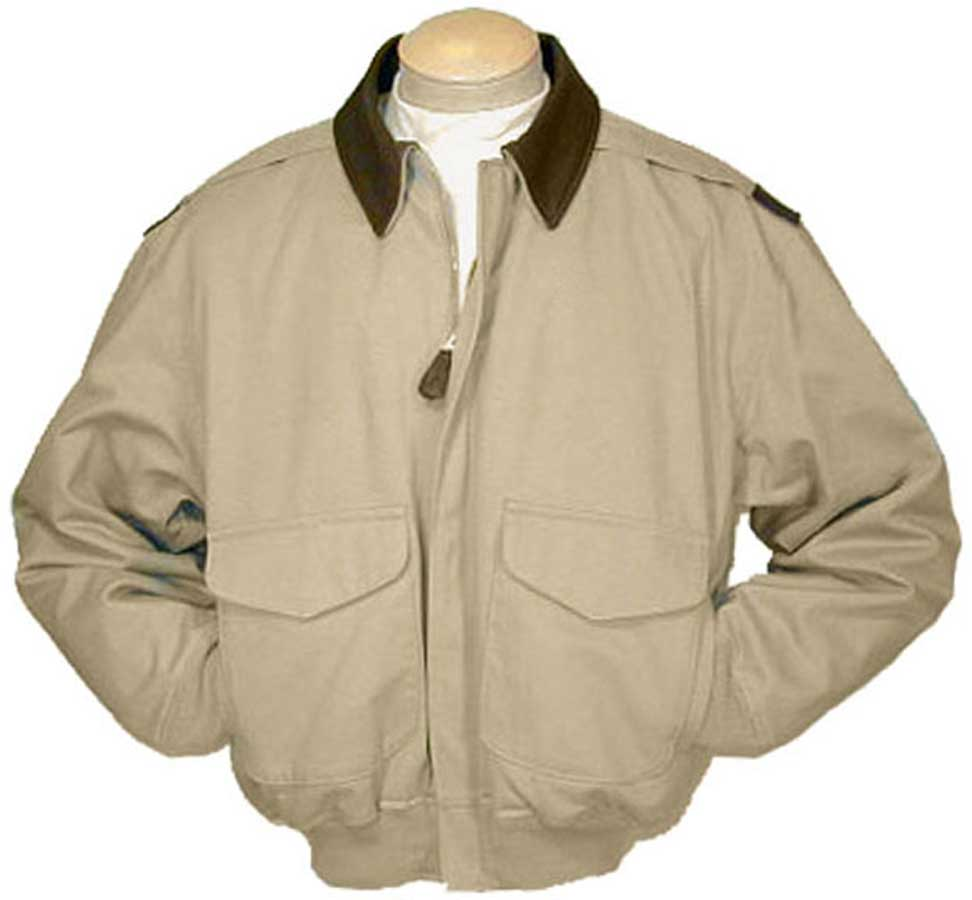 Cockpit Mens Cotton A-2 Flight Jacket with Leather Collar