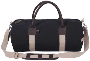 Black Canvas and Leather Overnight Shoulder Duffle Bag