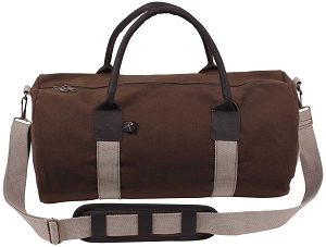 Brown Canvas and Leather Overnight Shoulder Duffle Bag