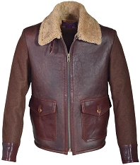 Schott NYC Mens 284 Brown Sheepskin Wool Flight Jacket