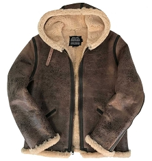 Schott NYC Mens 2B6 Brown Vintage Sheepskin B-6 Hoody Bomber Jacket