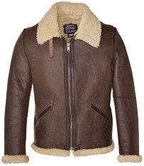 Schott NYC Mens 2B6C Brown Vintage Sheepskin B-6 Bomber Jacket