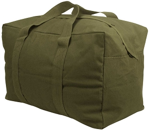Olive Heavyweight Canvas Parachute Cargo Overnight Duffle Bag