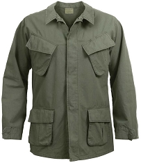 Rothco Mens Vintaged Vietnam Olive Military Fatigue Shirt