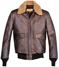 Schott NYC Mens 594 Brown Cowhide Flight Jacket with Removable Collar