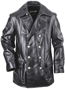 Schott NYC Mens 650 Double Breasted Black Military Leather Jacket