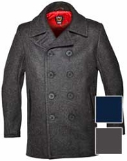Schott NYC Mens 740C Leather Trimmed Wool Peacoat