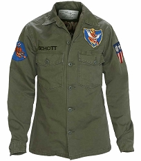 CLEARANCE - Schott NYC Mens 8701 Vintaged Flying 10th Olive Military Shirt