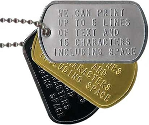 Custom Military Single Dog Tag
