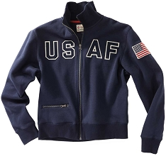 USAF Full Zip Navy Fleece Sweatshirt