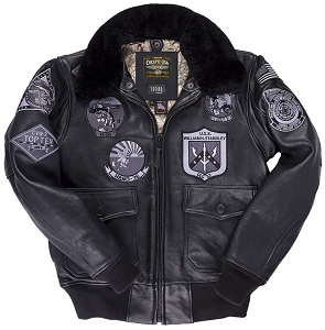 Cockpit USA Bogard Mens Stealth Black G-1 Top Gun Jacket
