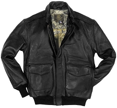 Cockpit Mens Black Antique Lambskin Leather A-2 Flight Jacket