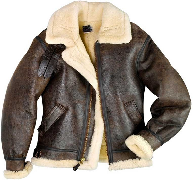 Cockpit Mens B-3 Sheepskin Bomber Jacket
