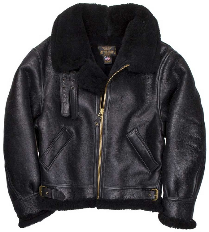 ba804dfe0d9 Cockpit Mens Black B-3 Sheepskin Bomber Jacket