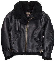 Cockpit Mens Black B-3 Sheepskin Bomber Jacket