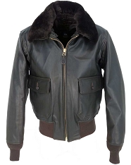Cockpit Mens G-1 Flight Jacket with  Removable Collar