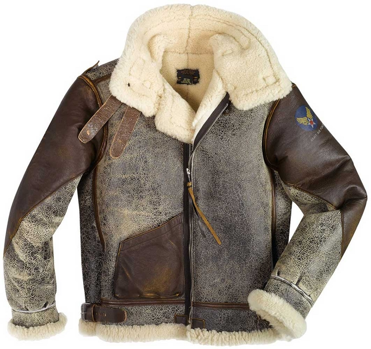 19cd5b55aef Cockpit Mens 100 Mission B-3 Sheepskin Bomber Jacket