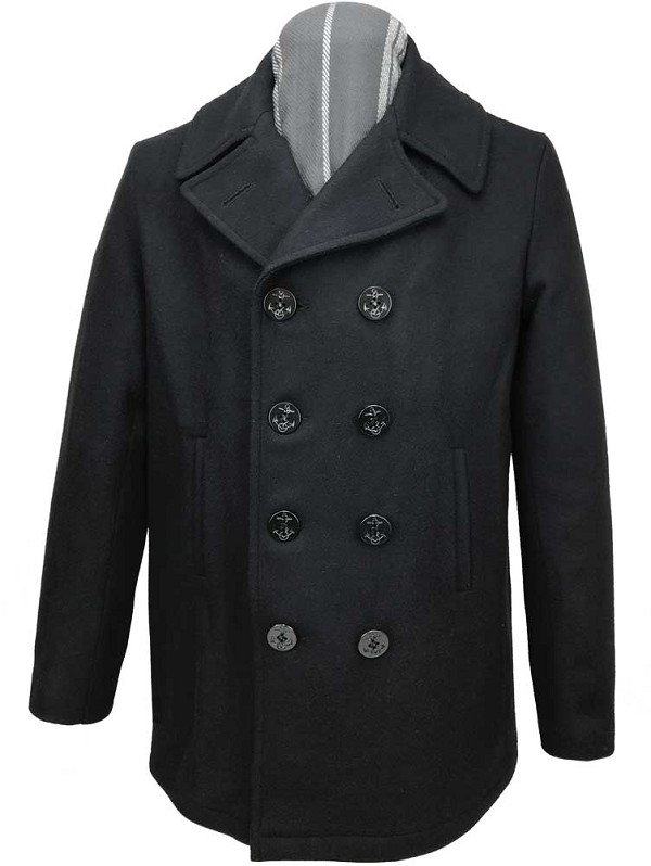 Fidelity Mens Satin Lined Naval Wool Peacoat