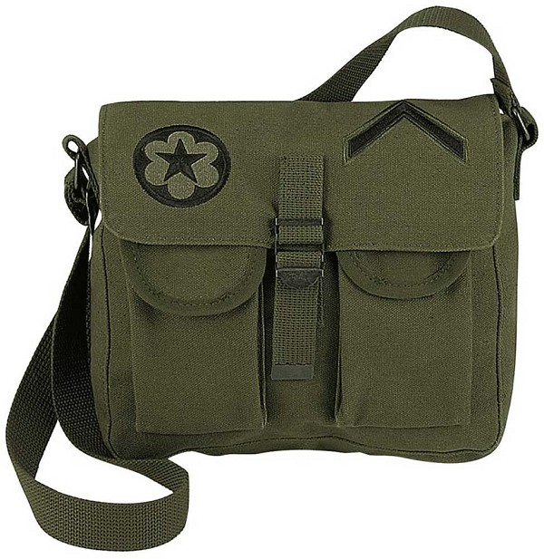 Canvas Military Shoulder Bag with Patches
