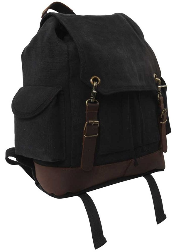 Vintage Expedition Black Rucksack Backpack