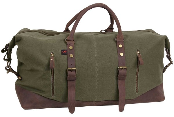 Vintage Olive Canvas Extended Weekender Bag