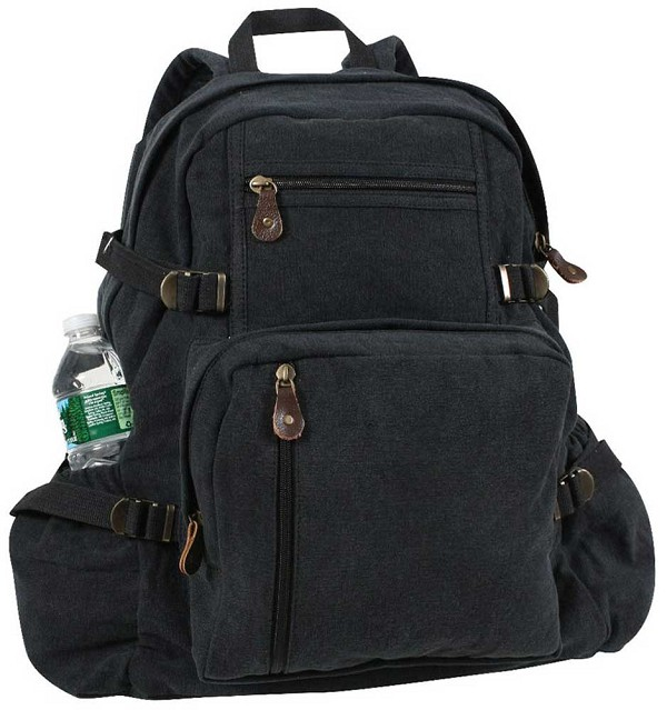 Large Vintage Black Canvas Backpack
