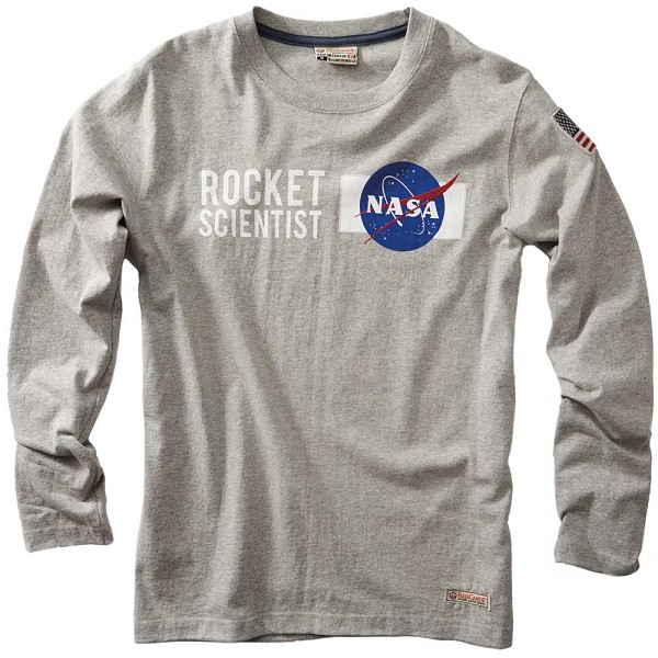 NASA Rocket Scientist Grey Long Sleeve T-Shirt