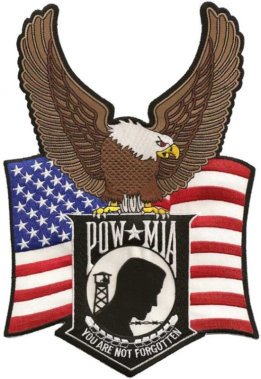 Large Embroidered Powmia Flag Eagle Patch
