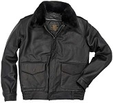 Cockpit Mens Aviation Crew Goatskin Flight Jacket with Removable Collar
