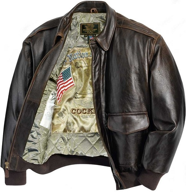 Mens Antique Lambskin Leather A-2 Flight Jacket